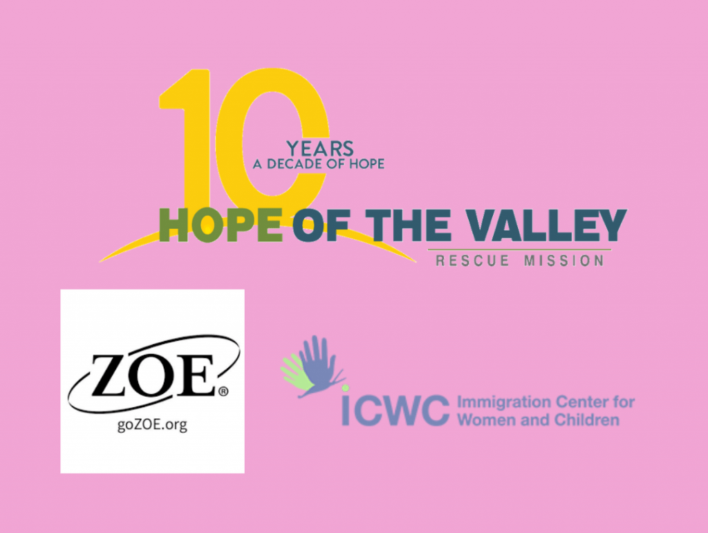 Logos of the different organizations and foundations Kids Mundo donates to. Zoe Organization, Hope of the Valley, Immigration Center for Women and Children.